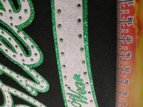 GRAFICOM Patch termoadesiva in tessuto cucito con bordo glitter + strass.